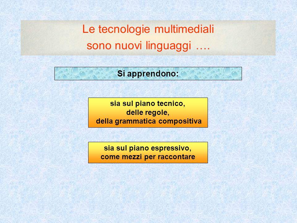 Le tecnologie multimediali sono nuovi linguaggi …. Si apprendono: sia sul piano tecnico, delle regole, della grammatica compositiva sia sul piano espr