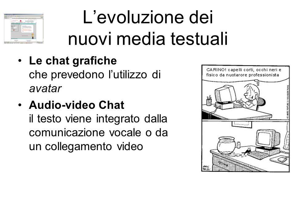 L'evoluzione dei nuovi media testuali Le chat grafiche che prevedono l'utilizzo di avatar Audio-video Chat il testo viene integrato dalla comunicazione vocale o da un collegamento video