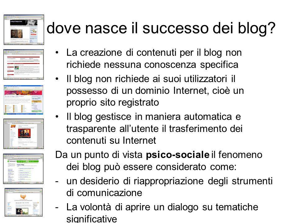 Da dove nasce il successo dei blog? La creazione di contenuti per il blog non richiede nessuna conoscenza specifica Il blog non richiede ai suoi utili