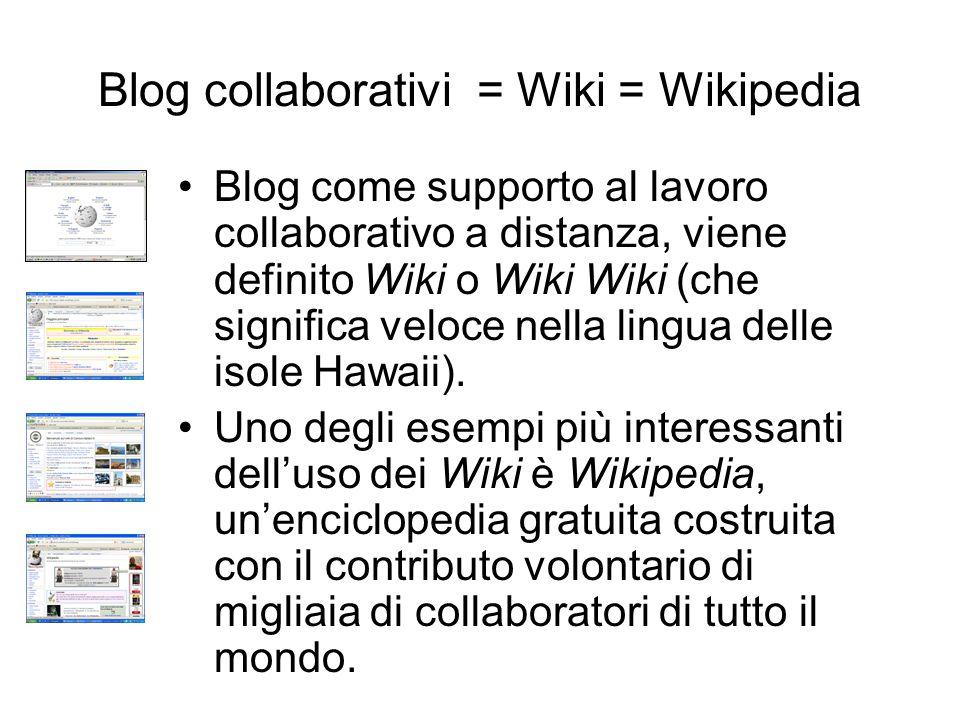 Blog collaborativi = Wiki = Wikipedia Blog come supporto al lavoro collaborativo a distanza, viene definito Wiki o Wiki Wiki (che significa veloce nella lingua delle isole Hawaii).