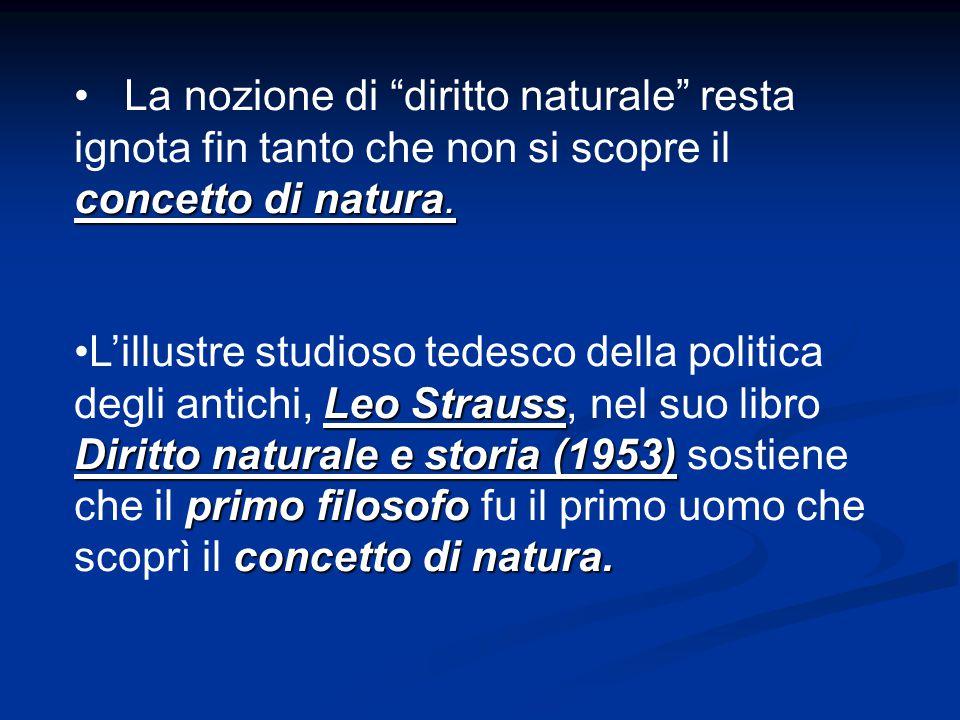 """concetto di natura. La nozione di """"diritto naturale"""" resta ignota fin tanto che non si scopre il concetto di natura. Leo Strauss Diritto naturale e st"""