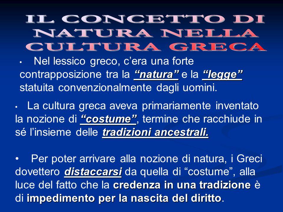 """""""natura""""""""legge"""" Nel lessico greco, c'era una forte contrapposizione tra la """"natura"""" e la """"legge"""" statuita convenzionalmente dagli uomini. """"costume"""" tr"""
