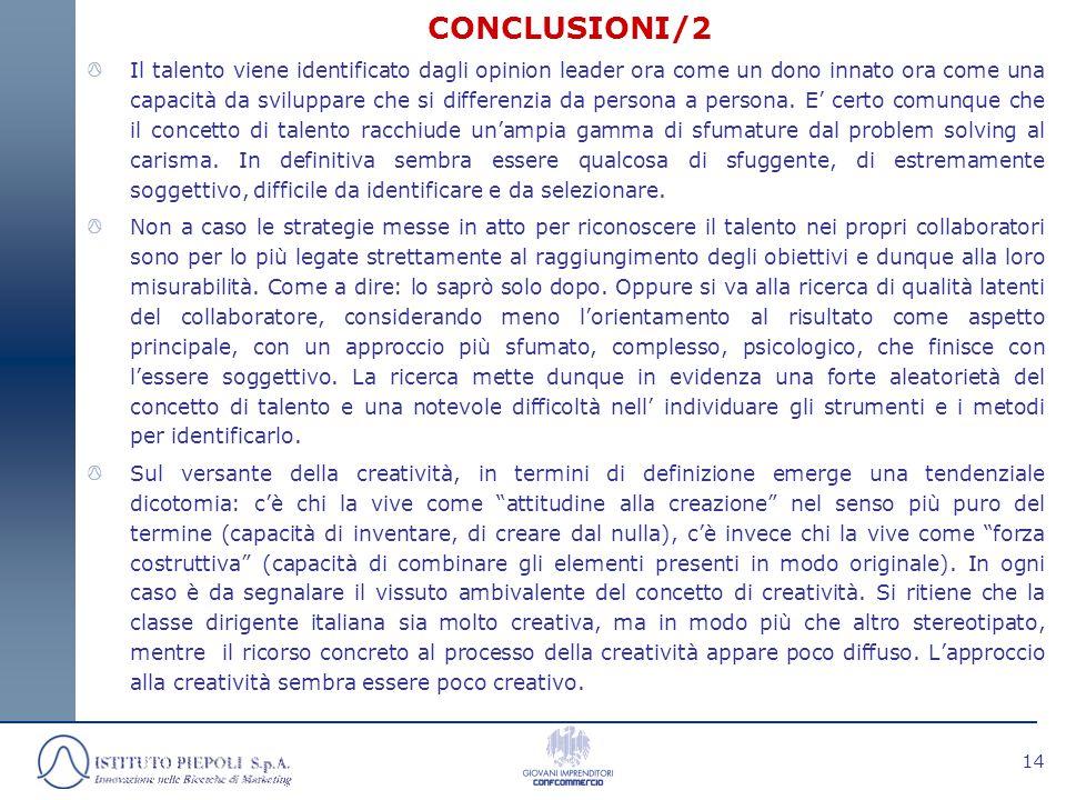 14 CONCLUSIONI/2 Il talento viene identificato dagli opinion leader ora come un dono innato ora come una capacità da sviluppare che si differenzia da