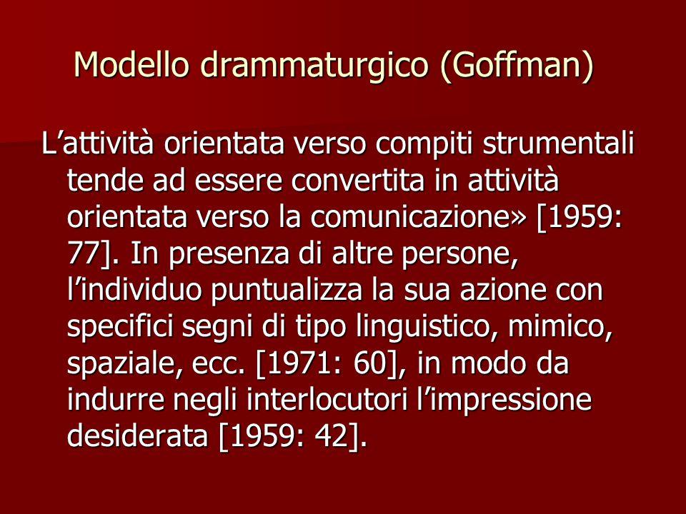 Modello drammaturgico (Goffman) L'attività orientata verso compiti strumentali tende ad essere convertita in attività orientata verso la comunicazion