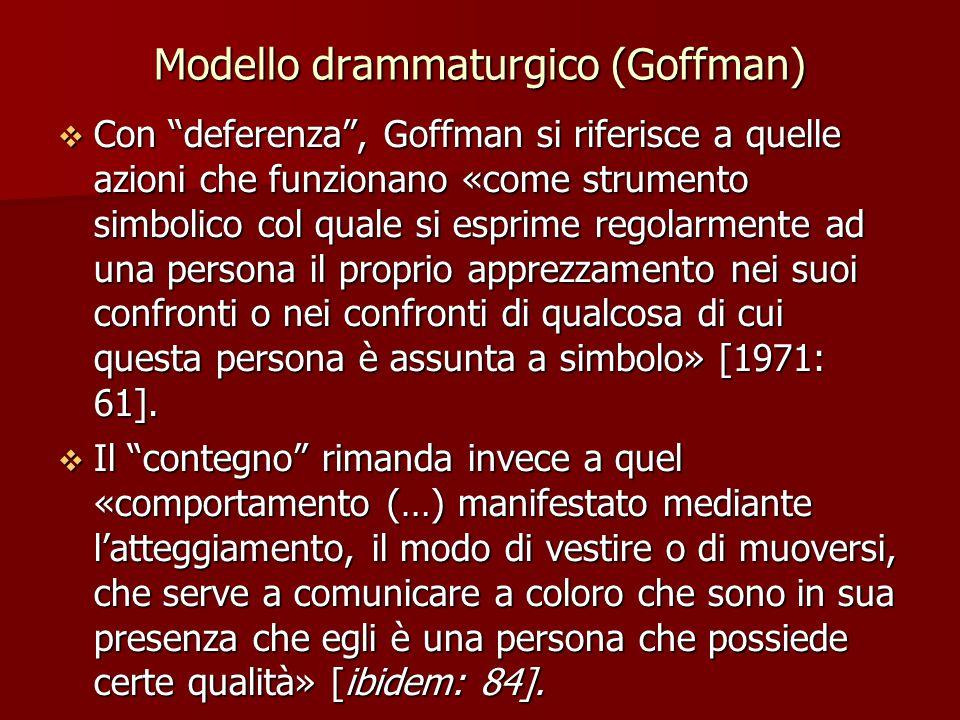 """Modello drammaturgico (Goffman)  Con """"deferenza"""", Goffman si riferisce a quelle azioni che funzionano «come strumento simbolico col quale si esprime"""