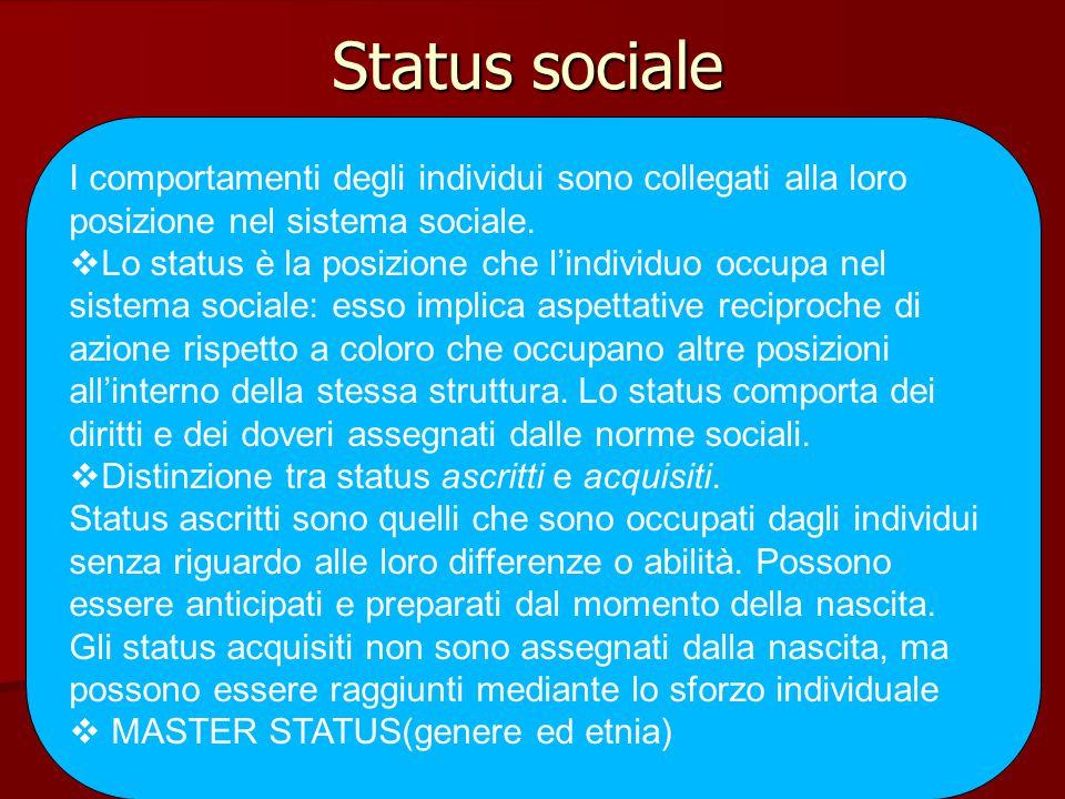 Status sociale I comportamenti degli individui sono collegati alla loro posizione nel sistema sociale.  Lo status è la posizione che l'individuo occu