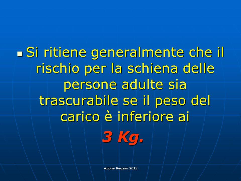 Azione Pegaso 2015 Si ritiene generalmente che il rischio per la schiena delle persone adulte sia trascurabile se il peso del carico è inferiore ai Si
