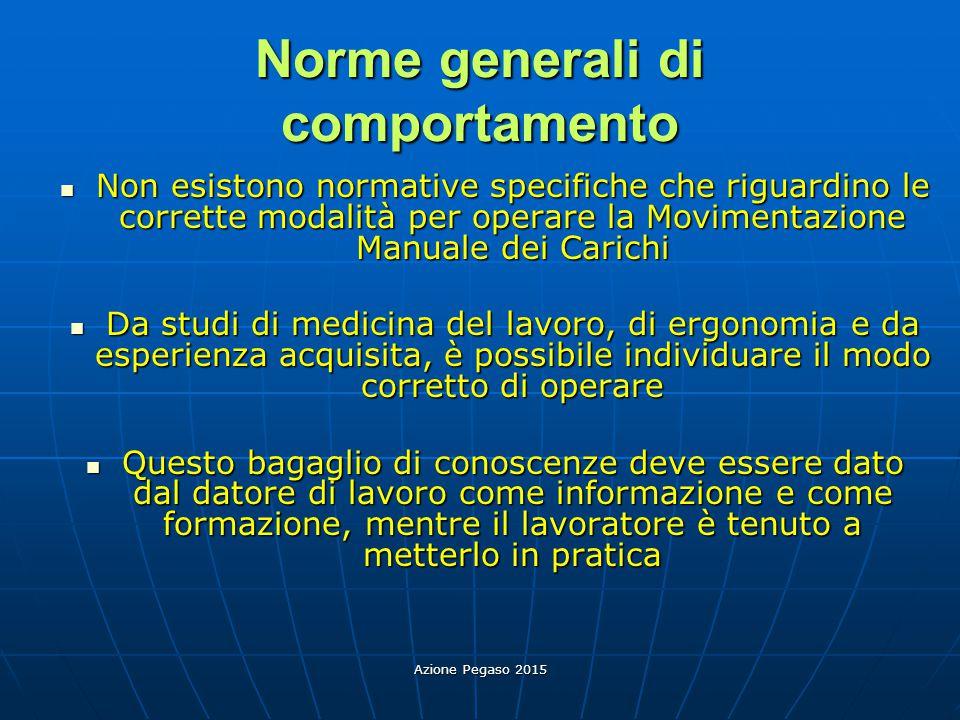 Azione Pegaso 2015 Norme generali di comportamento Non esistono normative specifiche che riguardino le corrette modalità per operare la Movimentazione