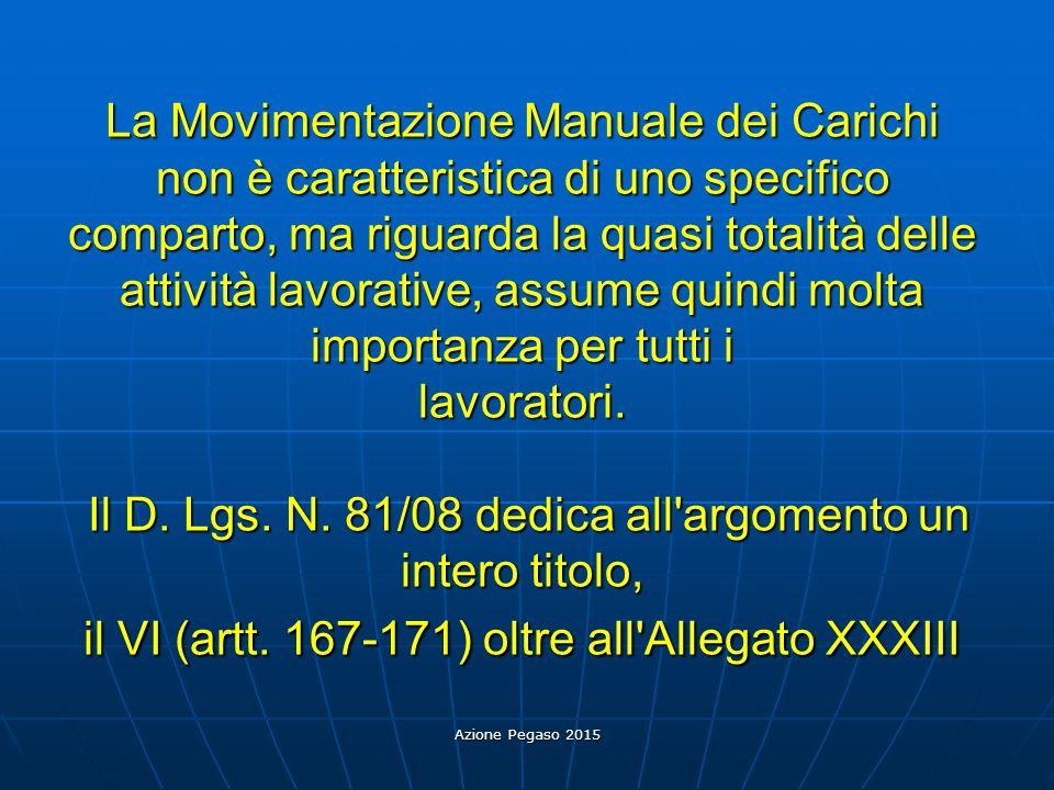 Azione Pegaso 2015 La Movimentazione Manuale dei Carichi non è caratteristica di uno specifico comparto, ma riguarda la quasi totalità delle attività