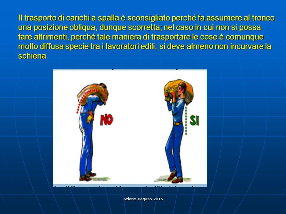 Azione Pegaso 2015 Il trasporto di carichi a spalla è sconsigliato perché fa assumere al tronco una posizione obliqua, dunque scorretta; nel caso in c