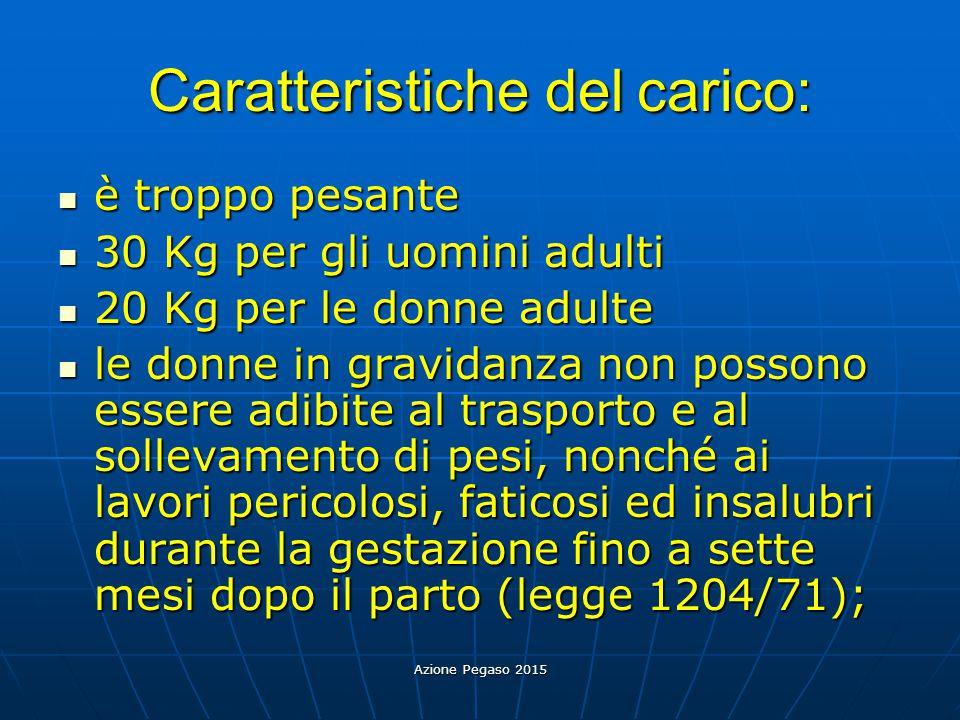 Azione Pegaso 2015 Caratteristiche del carico: è troppo pesante è troppo pesante 30 Kg per gli uomini adulti 30 Kg per gli uomini adulti 20 Kg per le