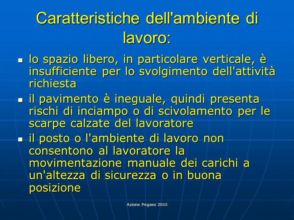 Azione Pegaso 2015 Caratteristiche dell'ambiente di lavoro: lo spazio libero, in particolare verticale, è insufficiente per lo svolgimento dell'attivi