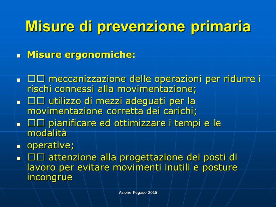 Azione Pegaso 2015 Misure di prevenzione primaria Misure ergonomiche: Misure ergonomiche: meccanizzazione delle operazioni per ridurre i rischi connes