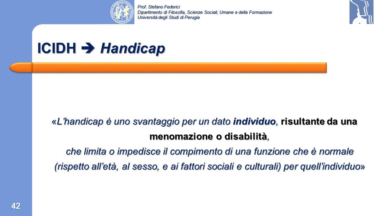 Prof. Stefano Federici Dipartimento di Filosofia, Scienze Sociali, Umane e della Formazione Università degli Studi di Perugia ICIDH  Svantaggio  Han
