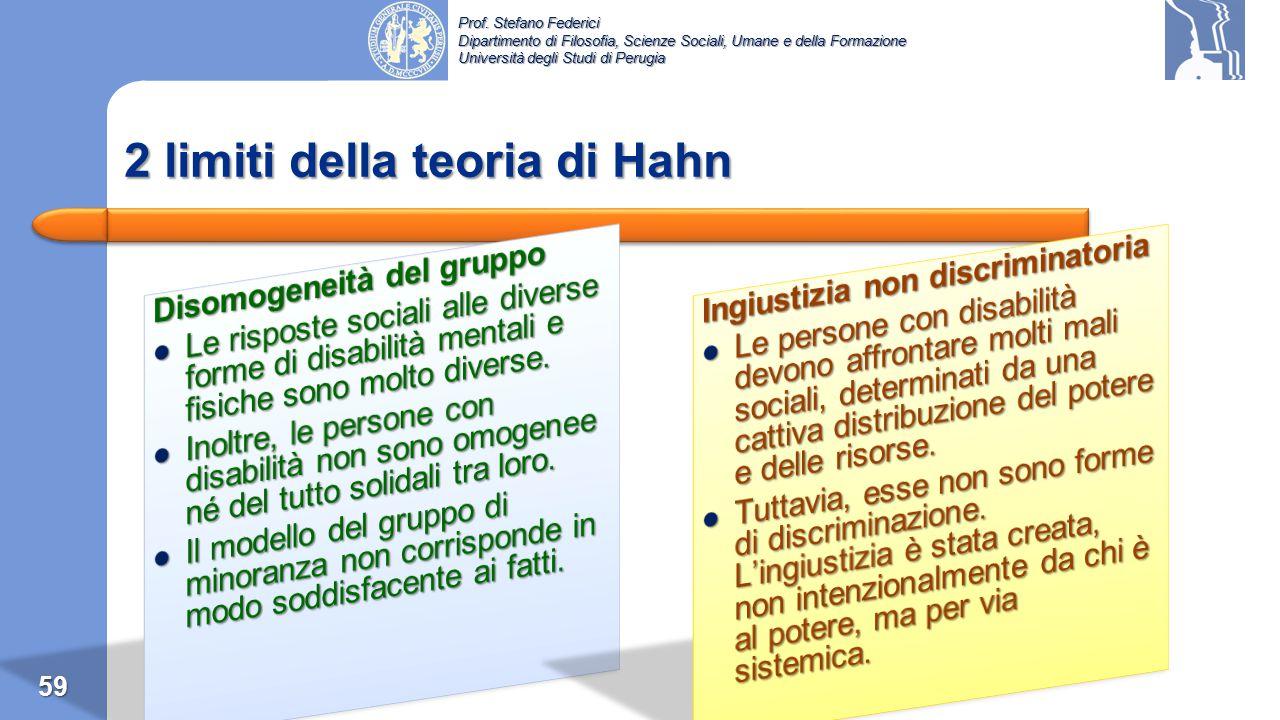 Prof. Stefano Federici Dipartimento di Filosofia, Scienze Sociali, Umane e della Formazione Università degli Studi di Perugia Hahn (1980s)  Hahn (198
