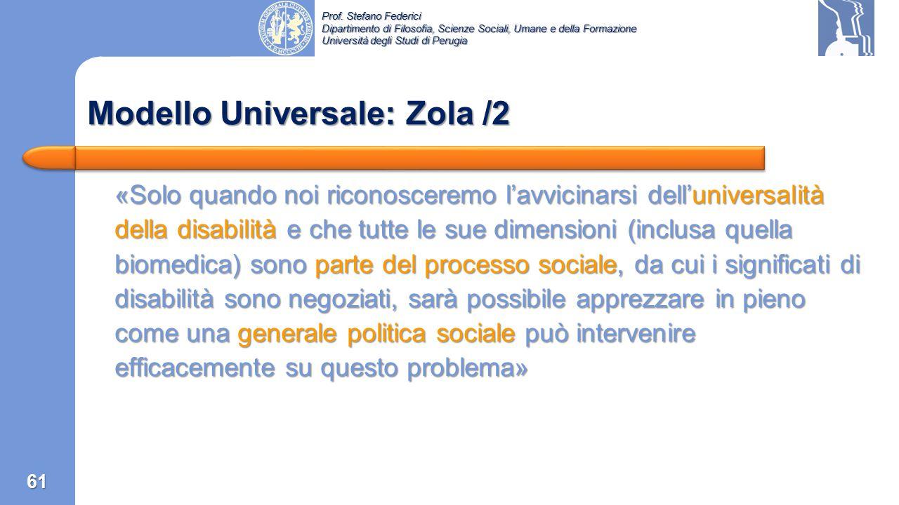 Prof. Stefano Federici Dipartimento di Filosofia, Scienze Sociali, Umane e della Formazione Università degli Studi di Perugia Modello Universale: Zola