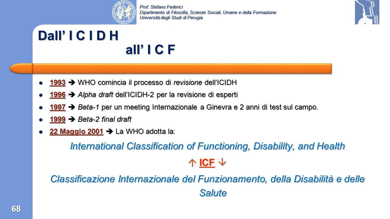 Prof. Stefano Federici Dipartimento di Filosofia, Scienze Sociali, Umane e della Formazione Università degli Studi di Perugia Capitolo 5: L'ICF 67