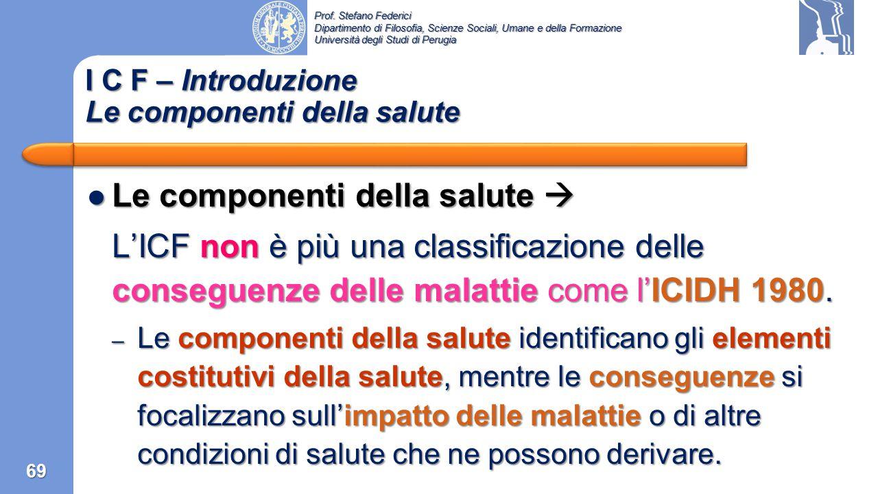 Prof. Stefano Federici Dipartimento di Filosofia, Scienze Sociali, Umane e della Formazione Università degli Studi di Perugia 1993  WHO comincia il p