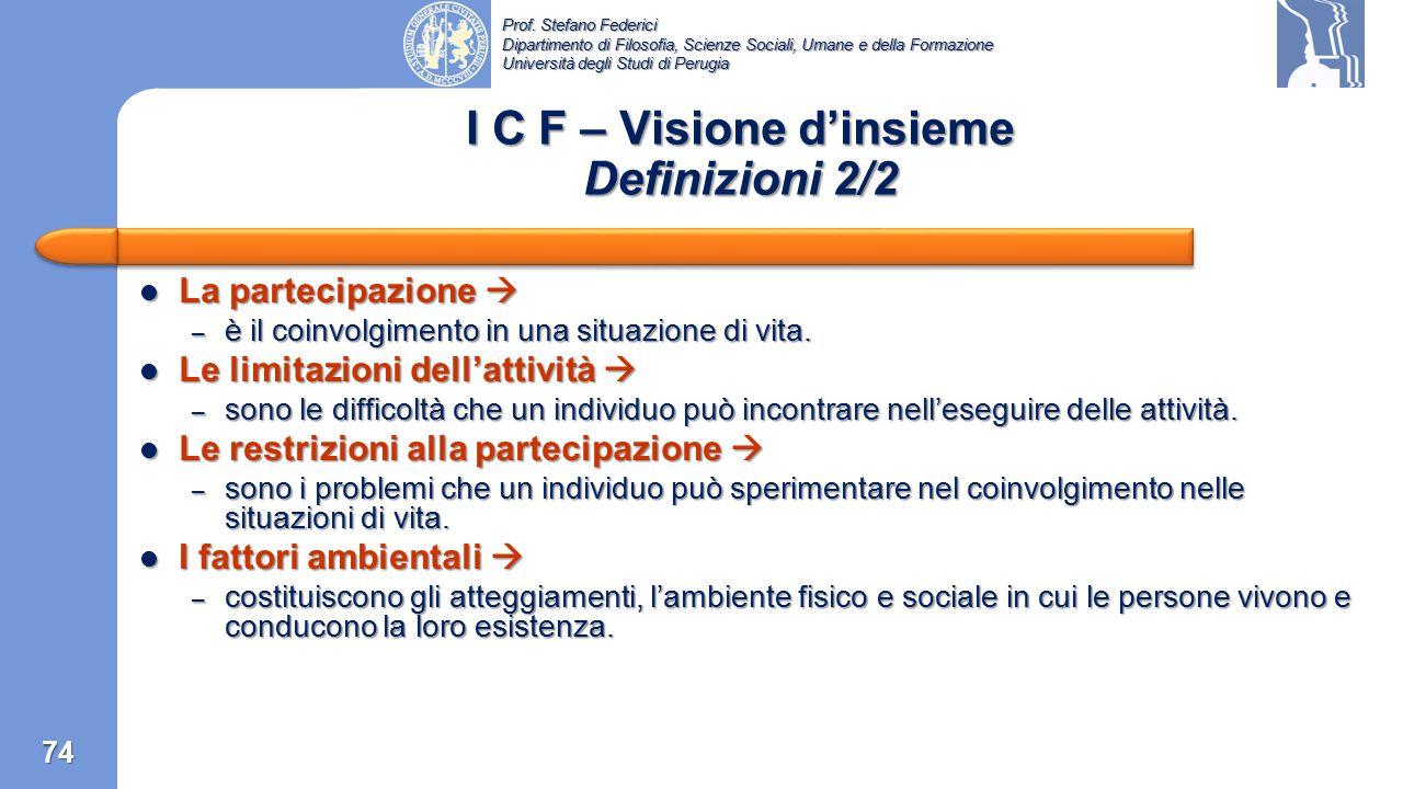 Prof. Stefano Federici Dipartimento di Filosofia, Scienze Sociali, Umane e della Formazione Università degli Studi di Perugia I C F – Visione d'insiem