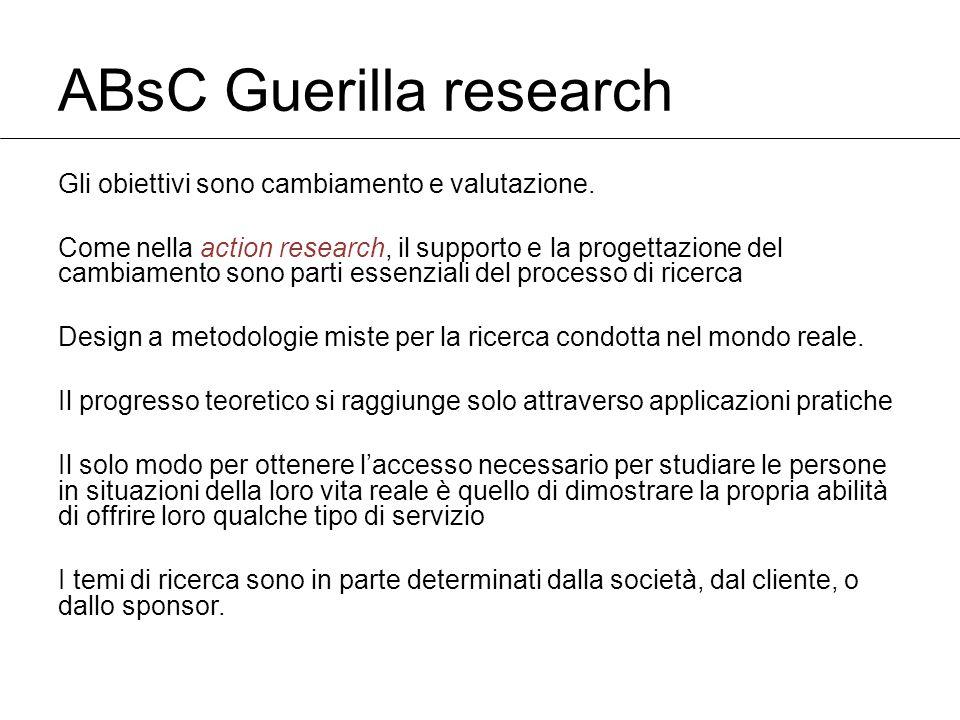 ABsC Guerilla research Gli obiettivi sono cambiamento e valutazione.