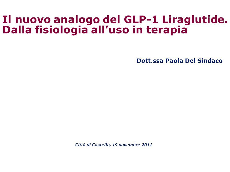 Liraglutide riduce la pressione arteriosa sistolica nei pazienti con diabete tipo 2 in 26 settimane I dati della PAS sono espressi come least squares (LS) means ± 95% intervallo di confidenza (CI); *p=0.0030; **p=0.0001 0 127 128 129 130 131 132 133 134 0246810 LS means PAS (mmHg) Settimane Liraglutide 1.2 mg, n=896 Liraglutide 1.8 mg, n=1363 Placebo, n=524 1214161820222426 LEAD-1–6: meta-analisi * ** Fonseca et al.