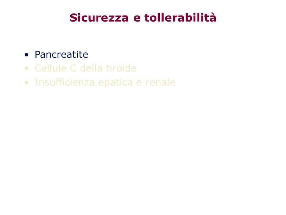 Sicurezza e tollerabilità Pancreatite Cellule C della tiroide Insufficienza epatica e renale