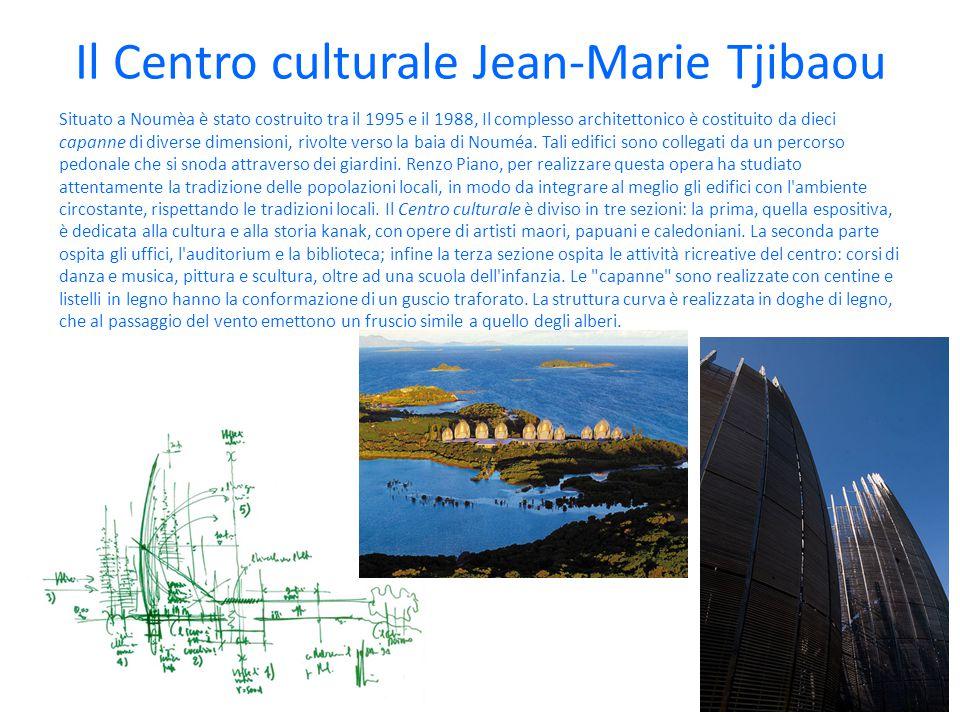 Il Centro culturale Jean-Marie Tjibaou Situato a Noumèa è stato costruito tra il 1995 e il 1988, Il complesso architettonico è costituito da dieci capanne di diverse dimensioni, rivolte verso la baia di Nouméa.