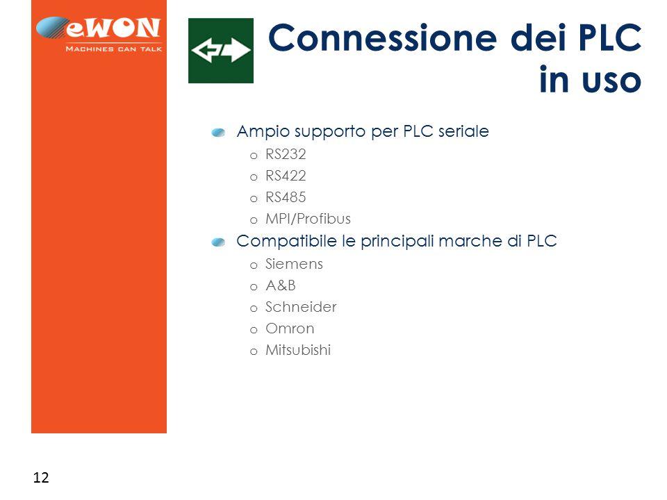 12 Connessione dei PLC in uso Ampio supporto per PLC seriale o RS232 o RS422 o RS485 o MPI/Profibus Compatibile le principali marche di PLC o Siemens o A&B o Schneider o Omron o Mitsubishi