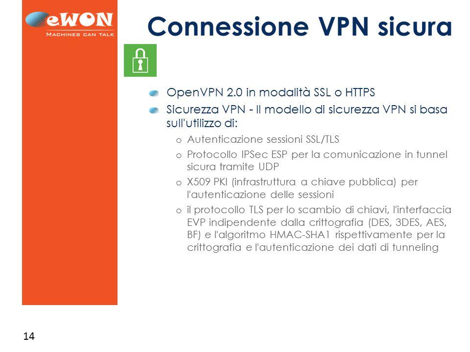 14 Connessione VPN sicura OpenVPN 2.0 in modalità SSL o HTTPS Sicurezza VPN - Il modello di sicurezza VPN si basa sull utilizzo di: o Autenticazione sessioni SSL/TLS o Protocollo IPSec ESP per la comunicazione in tunnel sicura tramite UDP o X509 PKI (infrastruttura a chiave pubblica) per l autenticazione delle sessioni o il protocollo TLS per lo scambio di chiavi, l interfaccia EVP indipendente dalla crittografia (DES, 3DES, AES, BF) e l algoritmo HMAC-SHA1 rispettivamente per la crittografia e l autenticazione dei dati di tunneling