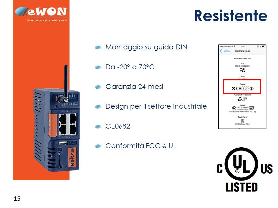 15 Resistente Montaggio su guida DIN Da -20° a 70°C Garanzia 24 mesi Design per il settore industriale CE0682 Conformità FCC e UL