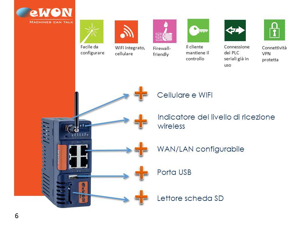 6 WAN/LAN configurabile Indicatore del livello di ricezione wireless Porta USB Lettore scheda SD Cellulare e WIFI Facile da configurare WiFi integrato, cellulare Firewall- friendly Il cliente mantiene il controllo Connessione dei PLC seriali già in uso Connettività VPN protetta