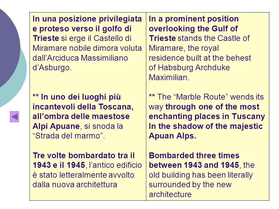 In una posizione privilegiata e proteso verso il golfo di Trieste si erge il Castello di Miramare nobile dimora voluta dall'Arciduca Massimiliano d'Asburgo.