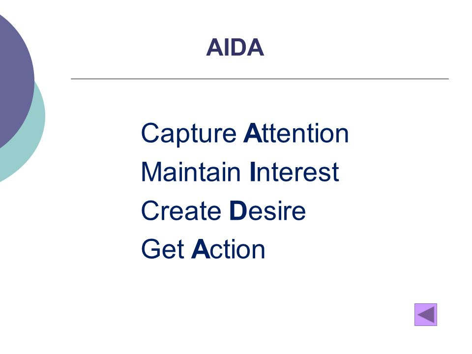 AIDA Capture Attention Maintain Interest Create Desire Get Action