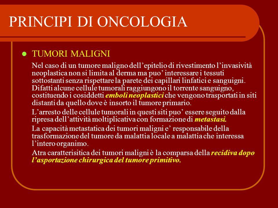 PRINCIPI DI ONCOLOGIA TUMORI MALIGNI Nel caso di un tumore maligno dell'epitelio di rivestimento l'invasività neoplastica non si limita al derma ma pu