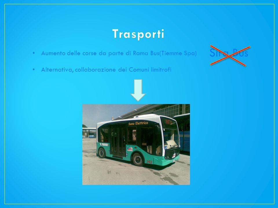 Aumento delle corse da parte di Rama Bus(Tiemme Spa) Alternativa, collaborazione dei Comuni limitrofi Sira Bus