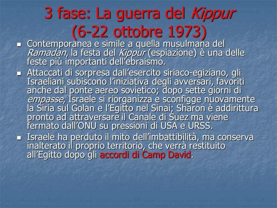3 fase: La guerra del Kippur (6-22 ottobre 1973) Contemporanea e simile a quella musulmana del Ramadan, la festa del Kippur (espiazione) è una delle f