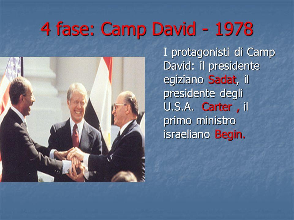 4 fase: Camp David - 1978 protagonisti di Camp David: il presidente egiziano Sadat, il presidente degli U.S.A. Carter, il primo ministro israeliano Be