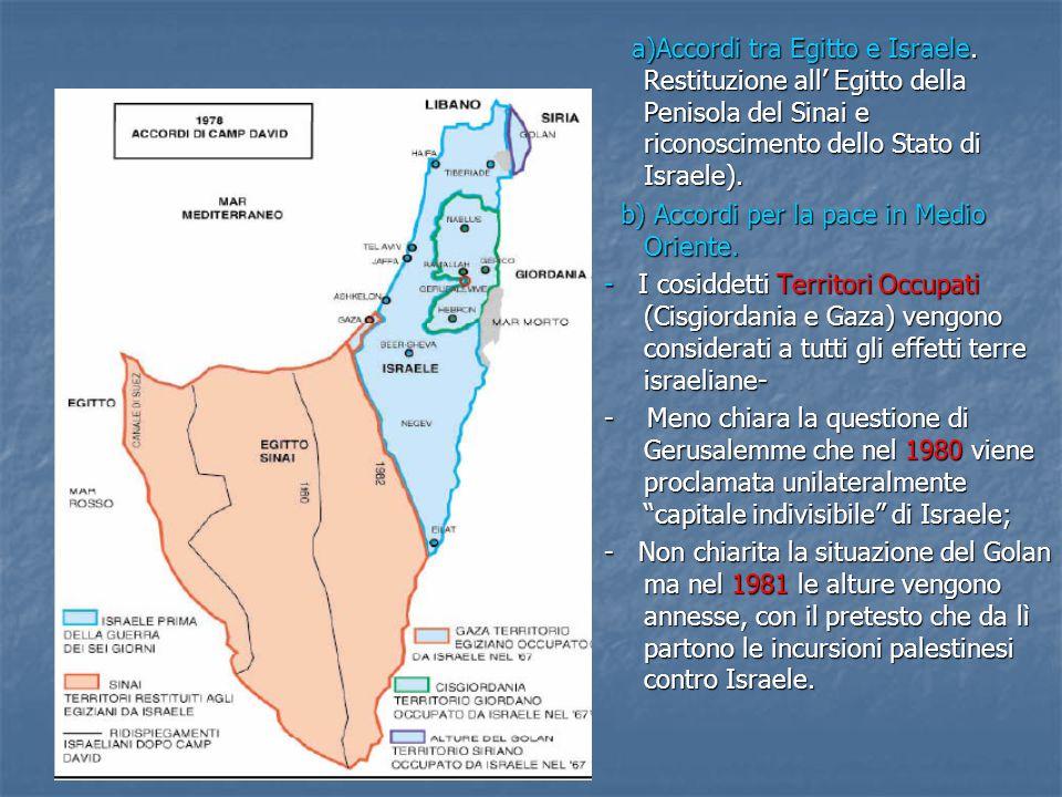 a)Accordi tra Egitto e Israele. Restituzione all' Egitto della Penisola del Sinai e riconoscimento dello Stato di Israele). b) Accordi per la pace in