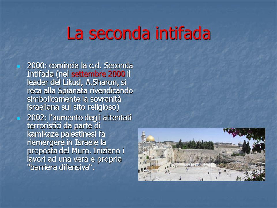 La seconda intifada 2000: comincia la c.d. Seconda Intifada (nel settembre 2000 il leader del Likud, A.Sharon, si reca alla Spianata rivendicando simb