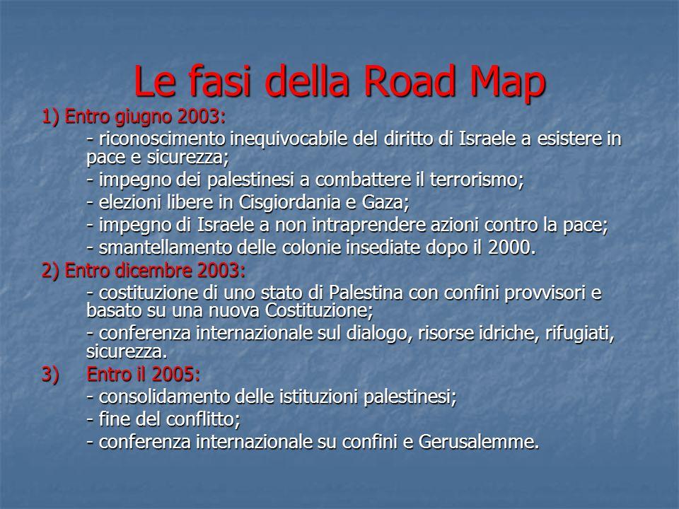 Le fasi della Road Map 1) Entro giugno 2003: - riconoscimento inequivocabile del diritto di Israele a esistere in pace e sicurezza; - impegno dei pale