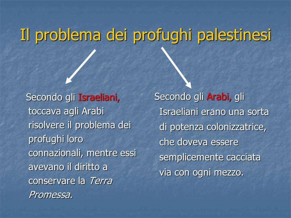 Il problema dei profughi palestinesi Secondo gli Israeliani, toccava agli Arabi risolvere il problema dei profughi loro connazionali, mentre essi avev