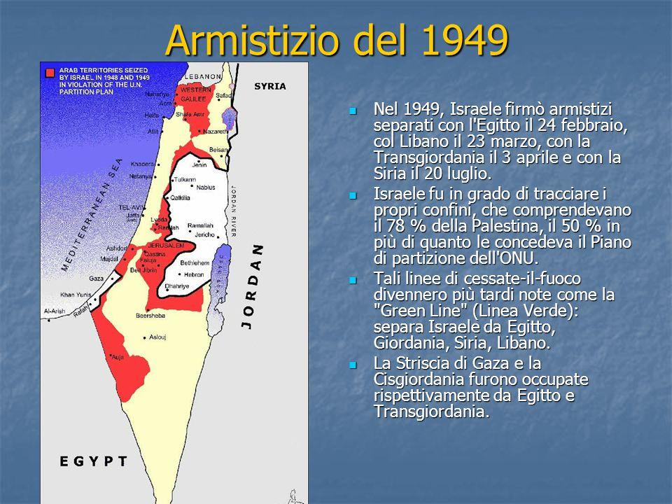 Armistizio del 1949 Nel 1949, Israele firmò armistizi separati con l'Egitto il 24 febbraio, col Libano il 23 marzo, con la Transgiordania il 3 aprile