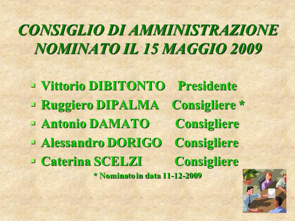 CONSIGLIO DI AMMINISTRAZIONE NOMINATO IL 15 MAGGIO 2009  Vittorio DIBITONTO Presidente  Ruggiero DIPALMA Consigliere *  Antonio DAMATO Consigliere