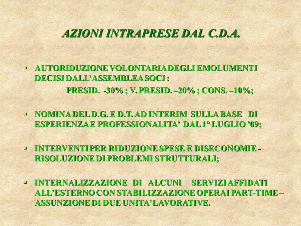  MASSIMA ATTENZIONE AL MIGLIORAMENTO QUALITATIVO DEI SERVIZI ED AL RIEQUILIBRIO DEL CONTO ECONOMICO 2009;  AVVIO DI RELAZIONI CON OPERATORI ISTITUZIONALI (AUTORITA' PORTUALE, CONAI, ECC.);  BILANCIO SEMESTRALE CON PERDITA CONTENUTA - PRECONSUNTIVO 2009 IN SOSTANZIALE PAREGGIO.