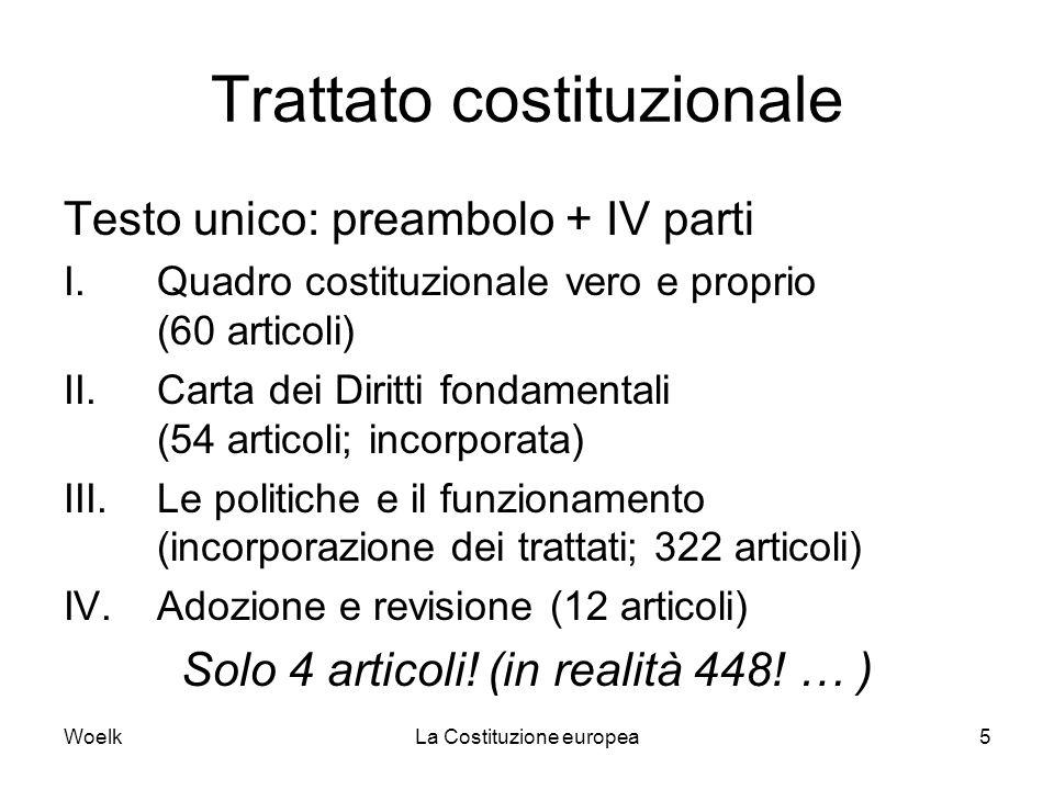 WoelkLa Costituzione europea5 Trattato costituzionale Testo unico: preambolo + IV parti I.Quadro costituzionale vero e proprio (60 articoli) II.Carta