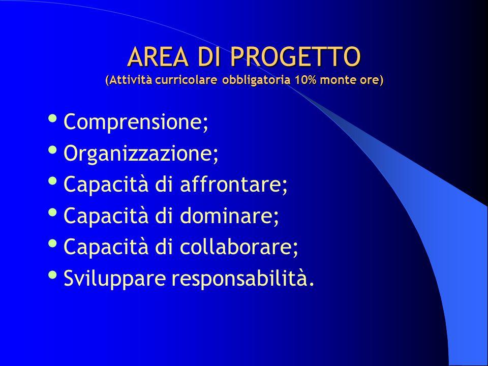 AREA DI PROGETTO (Attività curricolare obbligatoria 10% monte ore)  Comprensione;  Organizzazione;  Capacità di affrontare;  Capacità di dominare;  Capacità di collaborare;  Sviluppare responsabilità.