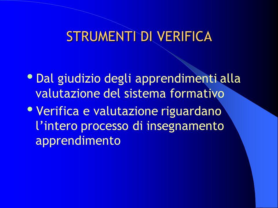 STRUMENTI DI VERIFICA  Dal giudizio degli apprendimenti alla valutazione del sistema formativo  Verifica e valutazione riguardano l'intero processo di insegnamento apprendimento