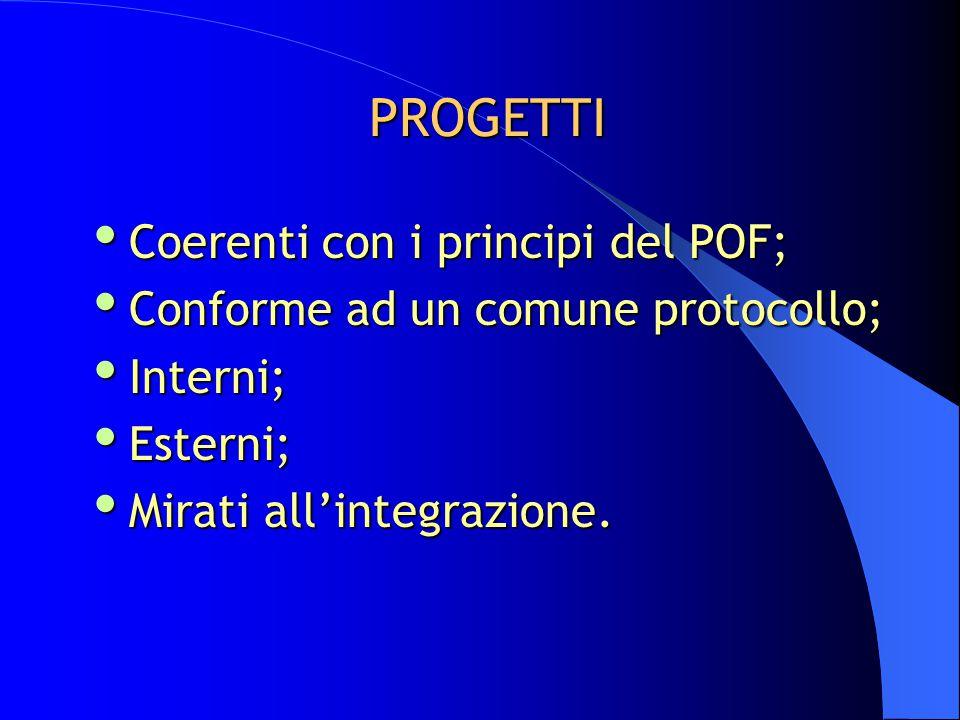 PROGETTI  Coerenti con i principi del POF;  Conforme ad un comune protocollo;  Interni;  Esterni;  Mirati all'integrazione.