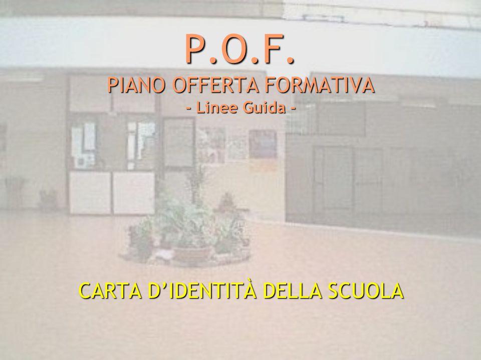 P.O.F. PIANO OFFERTA FORMATIVA - Linee Guida - CARTA D'IDENTITÀ DELLA SCUOLA