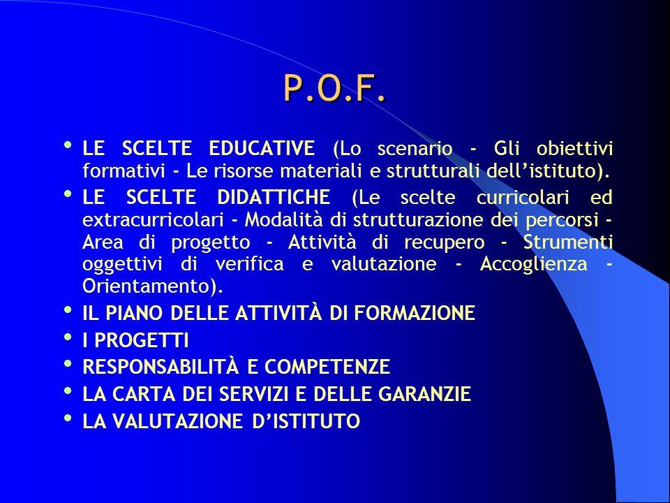 P.O.F.  LE SCELTE EDUCATIVE (Lo scenario - Gli obiettivi formativi - Le risorse materiali e strutturali dell'istituto).  LE SCELTE DIDATTICHE (Le sc